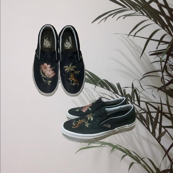 Vans Shoes - Women's Black Satin Embroidered Vans